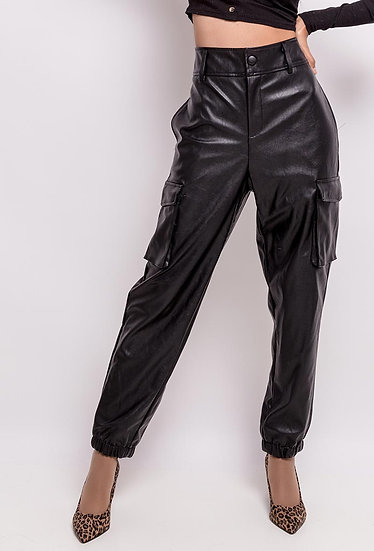 Pantalon cargo | AniBags | simili cuir | taille haute | poches | grande taille