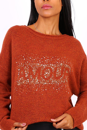 Pull | AniBags | amour | strass | laine | longue manches | ras du coup | col rond