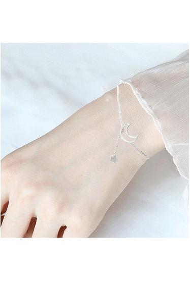 Bracelet acier femme fin motif lune étoile