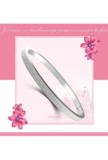 Bracelet Jonc fin | AniBags | message | acier | couleur | je t'aime un peu beaucoup passionnément