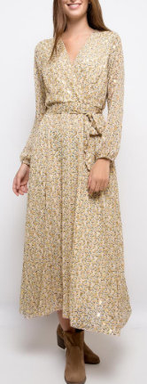 Robe longue | AniBags | cache cœur | gouttes dorées | manches longues