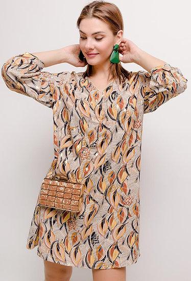 Robe imprimée Lydie | AniBags | doré | grande tailles | tunique