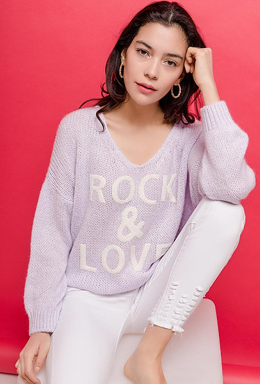 Pull ROCK & ROLL | AniBags | col V | écriture | pull doux | manches longues | couleurs pastels | made in Italie