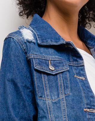 veste déchirée jean | AniBags | bleu jean | boutons |