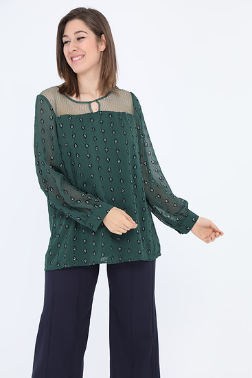 Blouse | AniBags | voile | grande taille | manches longues | manches voile | brillant
