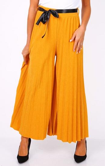 Pantalon | AniBags | plissé | long | pailleté | moutarde