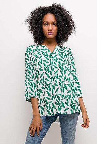 Blouse imprimée | AniBags | blouse fluide | feuilles verte |