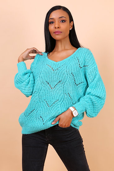 Pull Ambre | AniBags | pull ajouré | col rond | turquoise | manches longues