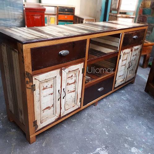 Muebletv madera y marfil