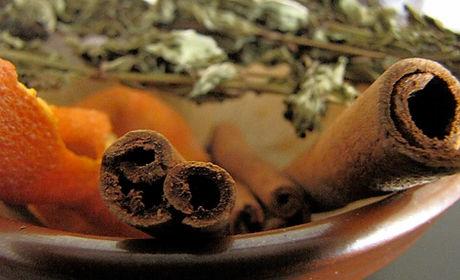 a dish of herbs including cinnamon, orange peel, mugwort.