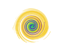 Windstone Acupuncture logo of golden spiral with green and violet swirls inside.
