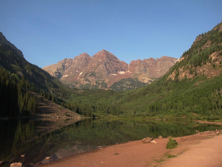 A photo of Maroon Bells peaks in Colorado.