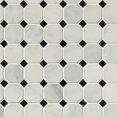 Arabescato Carrara Marble Octagon with Black/White Honed Tile