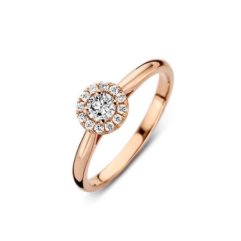 Bague pompon mini or rose et diamants BLOCH