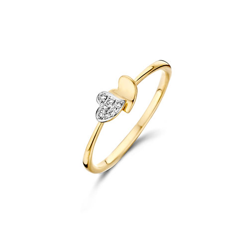 Bague coeurs or jaune et diamants Dulci Nea