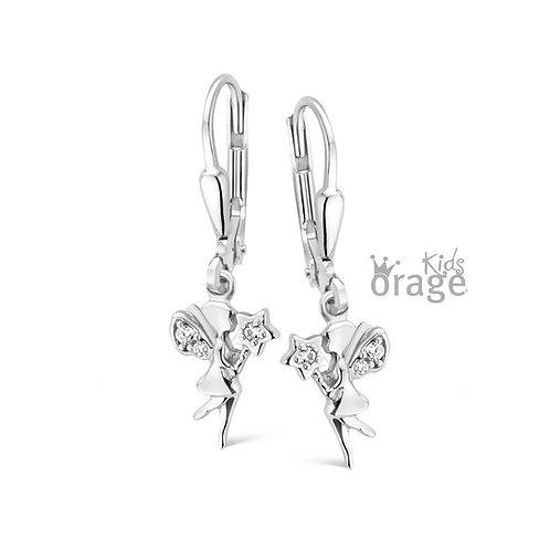 Boucles d'oreille Orage Kids K1862 fées en argent rhodié et oxydes de zirconium
