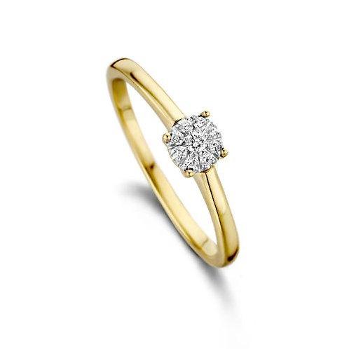Solitaire or jaune et diamants Dulci Nea