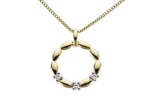 Pendentif rond or jaune et diamants Pigou