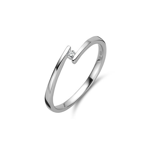 Solitaire moderne or blanc et diamant Beheyt