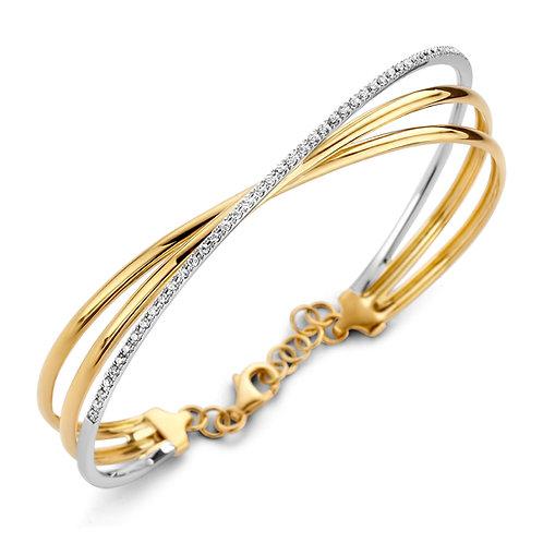 Bracelet bicolore or jaune/or blanc et diamants Beheyt