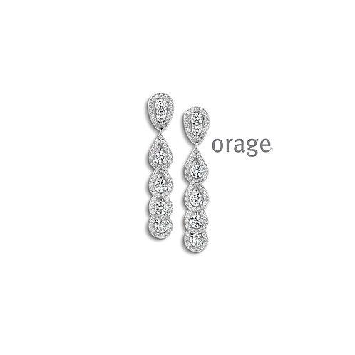 Boucles d'oreille Orage AP038 en argent rhodié et oxydes de zirconium
