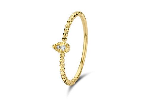 Bague mini poire or jaune et diamants Pigou