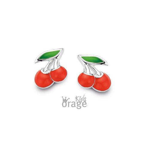 Boucles d'oreille Orage K1906 cerises en argent rhodié et laque