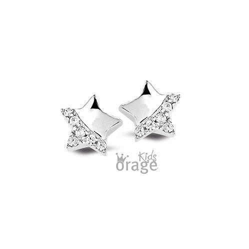 Boucles d'oreille Orage Kids K1899 en argent rhodié et oxydes de zirconium