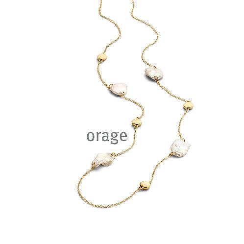 Collier Orage AR051 en argent doré et perles baroques