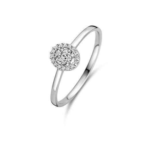 Bague cluster ovale or blanc et diamants Beheyt
