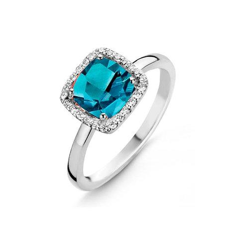 Bague topaze London Blue et diamants Etna One More