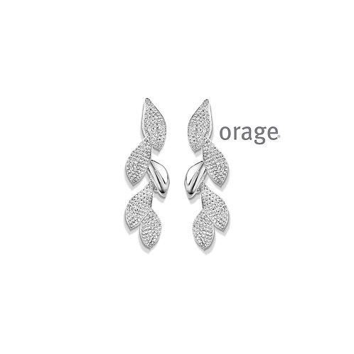 Boucles d'oreille Orage AP101 en argent rhodié et oxydes de zirconium