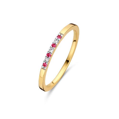Alliance or jaune rubis et diamants Beheyt