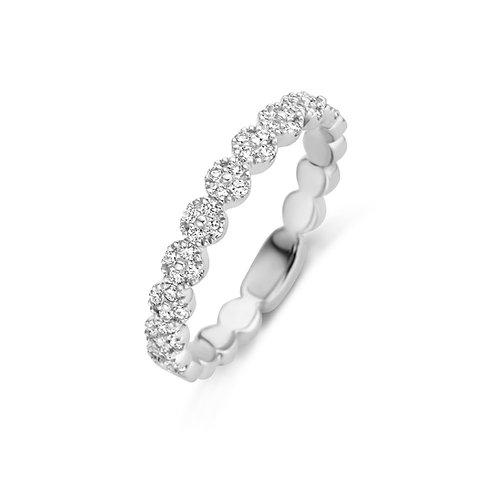 Alliance pavés ronds diamants en or blanc Beheyt