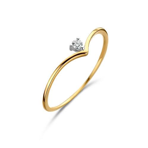 Solitaire sur pointe or jaune et diamant Beheyt