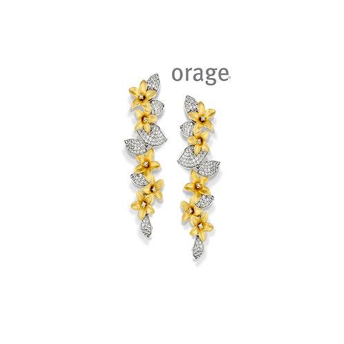 Boucles d'oreille Orage AP019 en argent doré et oxydes de zirconium