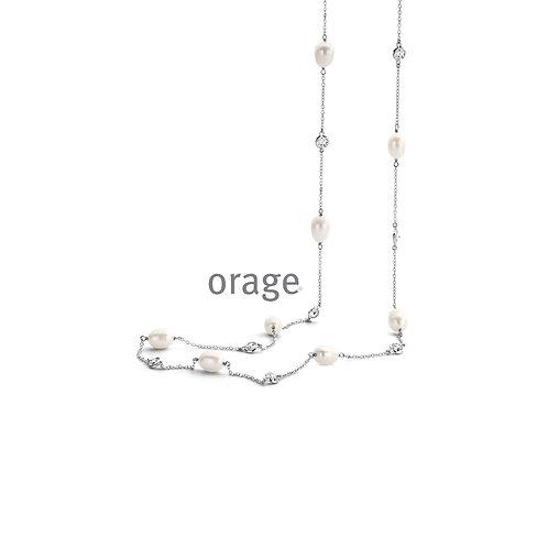Collier Orage AR017 en argent rhodié et perles