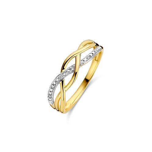 Bague croisée en or jaune et diamants Dulci Nea