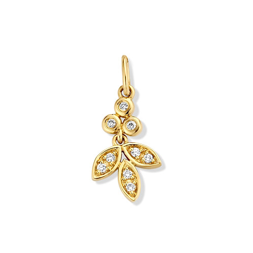 Pendentif motif fleur or jaune et diamants Beheyt