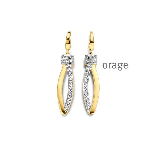 Boucles d'oreille Orage AR156  en argent doré et oxydes de zirconium