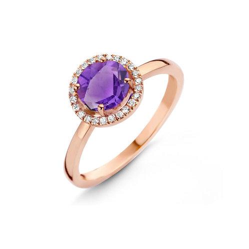 Bague améthyste et diamants or rose Etna One More