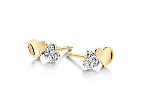 Boucles d'oreille coeurs en or jaune et diamants Dulci Nea