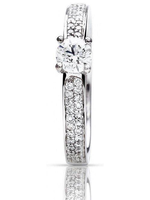 Solitaire pavé brillants or blanc Salina One More