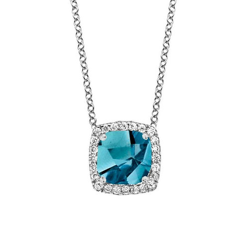 Collier topaze London Blue et diamants or blanc Etna One More
