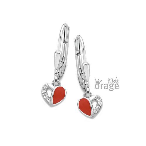 Boucles d'oreille Orage Kids K1882  coeurs en argent rhodié et laque