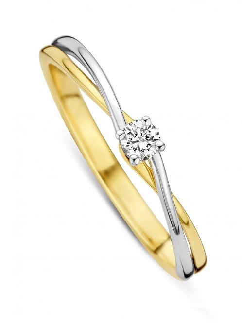 Solitaire entrelacé or blanc/or jaune et diamant Dulci Nea