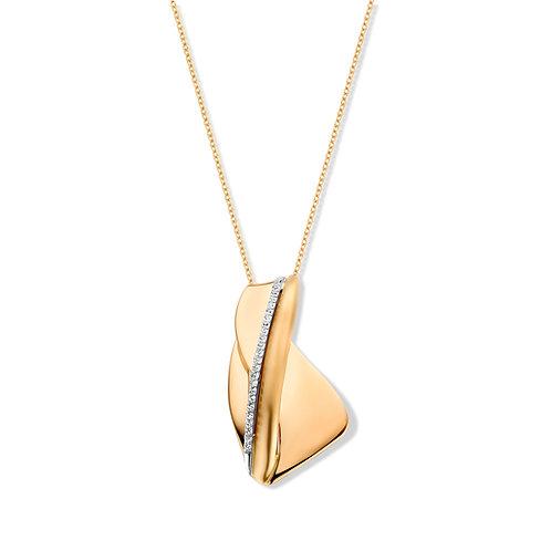 Collier design bicolore or jaune/or blanc et diamants Beheyt