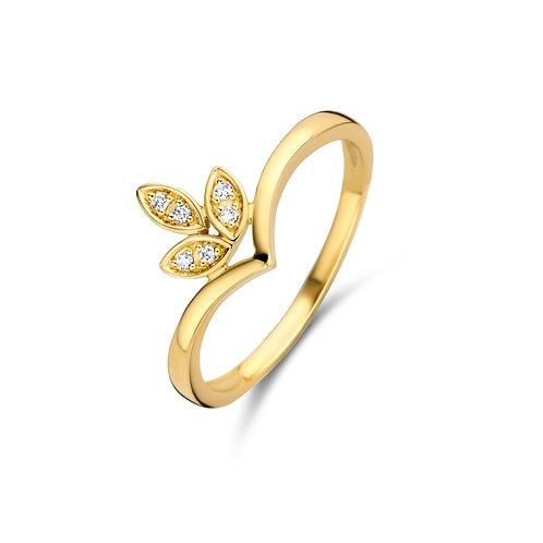 Bague motif fleur or jaune et diamants Beheyt