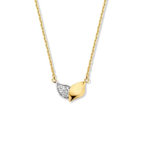 Collier motif feuilles et diamants or jaune Beheyt