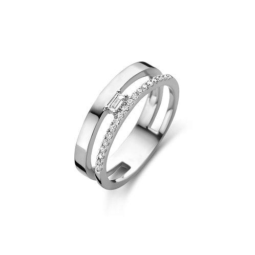 Bague double anneau en or blanc et diamants Beheyt